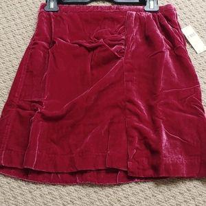 Anthropologie Skirt Rasberry Velvet Size 6P